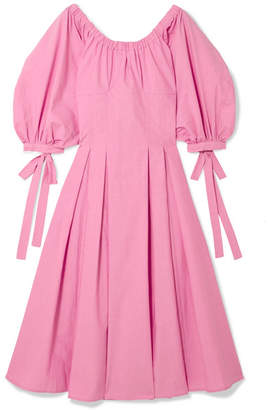 REJINA PYO - Greta Bow-embellished Cotton Midi Dress - Pink