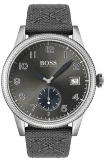 BOSS Textured-bezel watch with leather-lined woven strap
