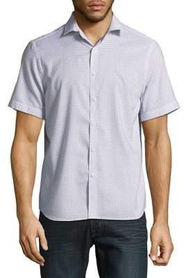 Black & Brown Black Brown Slim-Fit Diamond-Print Short-Sleeve Shirt