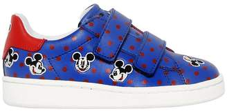Printed & Embroidered Leather Sneakers