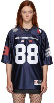 Alexander Wang Navy High Shine Football Jersey T-Shirt