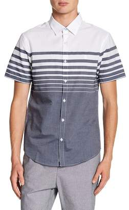 Original Penguin Short Sleeve Engineered Horizontal Stripe Print Heritage Slim Fit Shirt
