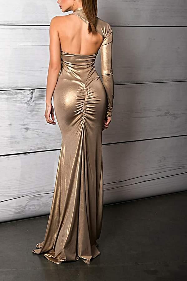 Savee Couture Metallic One Sleeve Dress