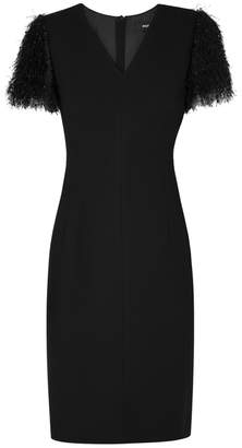 Paule Ka Black Fringed Crepe Dress