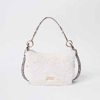 River Island Cream zip faux fur scoop cross body bag