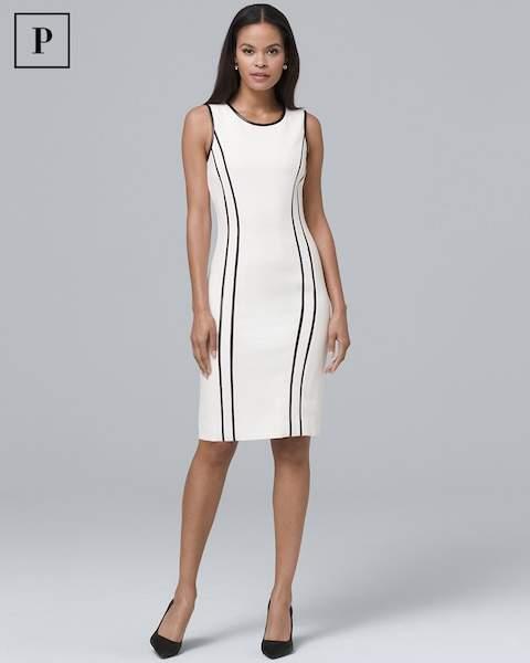 Whbm Faux Leather-Trim Sheath Dress