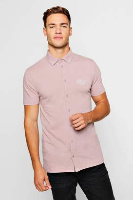 boohoo Short Sleeved Muscle Fit Shirt With BM Logo