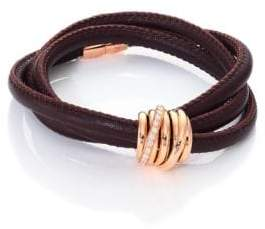 de GRISOGONO Allegra Diamond, 18K Rose Gold& Leather Wrap Bracelet/Tobacco