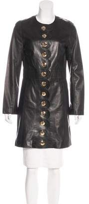 Tory Burch Scalloped Leather Coat