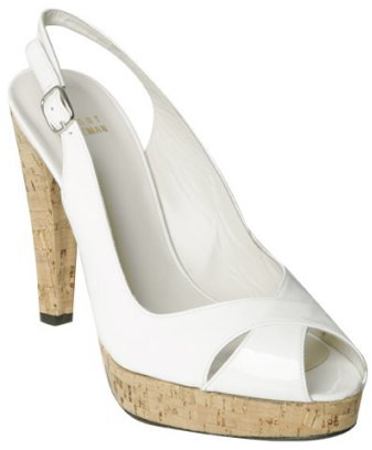 Stuart Weitzman white patent leather 'Exsling' slingback sandals