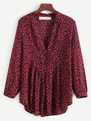 Shein V-Neck Leopard Print Blouse
