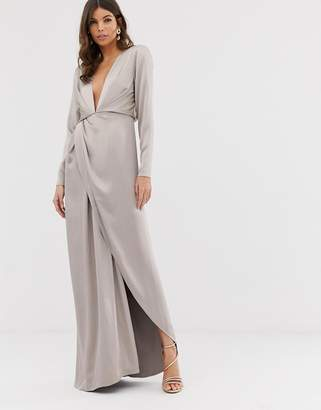 Asos Edition EDITION split side plunge maxi dress in satin
