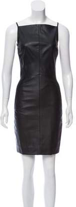 Gareth Pugh Sleeveless Leather-Accented Mini Dress