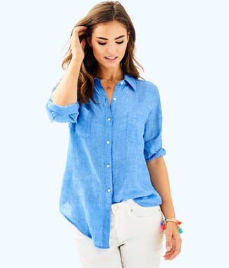 Lilly Pulitzer Womens Sea View Button-Down Top