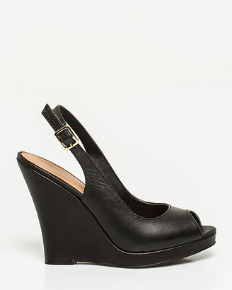 Le Château Leather Peep Toe Wedge Slingback
