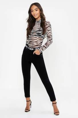 430282545e7bb boohoo Petite High Rise Black Cord Skinny Jean