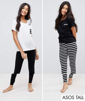 Asos Tall TALL 2 Pack Stripe and Dreamy Embroidered Legging Pyjama Set