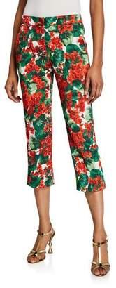 Dolce & Gabbana Geranium Floral-Brocade Straight-Leg Crop Pants