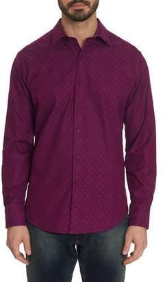 Robert Graham Men's Keaton Patterned Sport Shirt with Contrast Detail