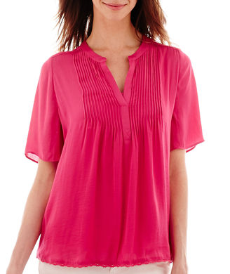 A.N.A a.n.a Short-Sleeve Pintuck Peasant Blouse $17.99 thestylecure.com