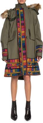 Sacai Faux-Fur Trim Floral-Embroidered Trim Parka Jacket