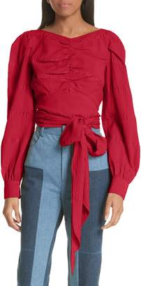 Rachel Comey Bounds Tie Waist Silk Blend Top