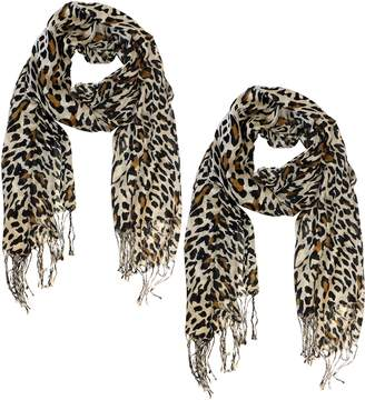 Couture Peach Beautiful Soft and Silky Leopard Print Pashmina Shawl Scarves