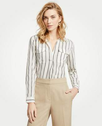 Ann Taylor Petite Striped Camp Shirt