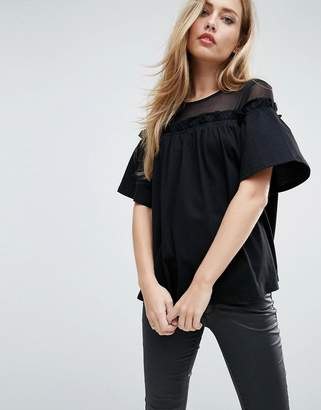 Asos Design Top with Mesh Panel and Swing Detail