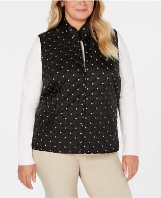 Karen Scott Plus Size Polka-Dot Quilted Vest