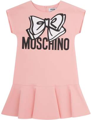 Moschino Bow Logo Cap Sleeve Jersey Dress