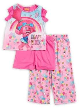 AME Sleepwear Little Girl's Trolls Three-Piece Top, Shorts and Pants Set