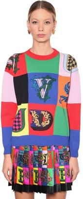 Versace Printed Rib Knit Sweater