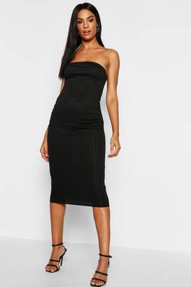 boohoo Tall Bandeau Rib Midi Dress