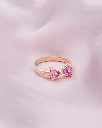 Ted Baker ILIAA 9ct rose gold and pink tourmaline bow ring