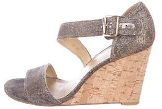 Stuart Weitzman Metallic Woven Wedge Sandals