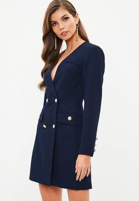 Missguided Navy Satin Gold Button Blazer Dress