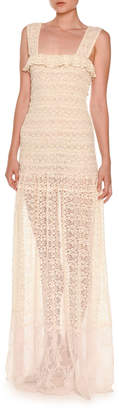 Stella McCartney Sleeveless Smocked Lace Gown Natural