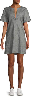 Theory Sharkskin Short-Sleeve Shift Dress