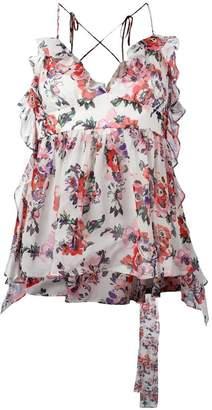 MSGM floral print V-neck top