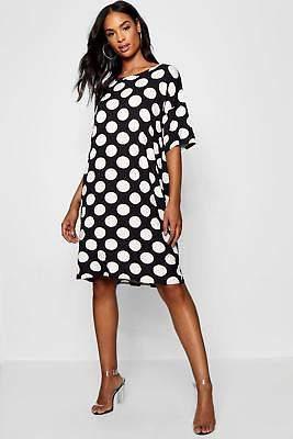 boohoo NEW Womens Tall Polka Dot T-Shirt Dress in Viscose