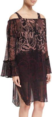 Fuzzi Floral Print Off-the-Shoulder Coverup Dress, Black