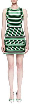 Lanvin Mixed-Stripe Linen-Blend Mini Dress $1,885 thestylecure.com