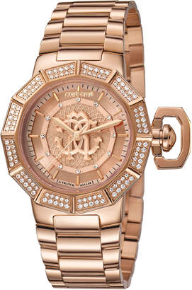 Roberto Cavalli By Franck Muller 35mm Pave Crystal Rose Golden Stainless Steel Bracelet Watch