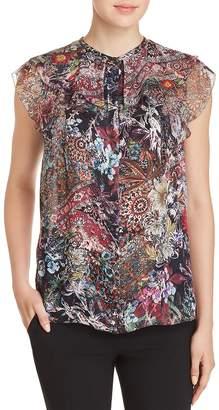 Elie Tahari Mala Sleeveless Printed Silk Blouse
