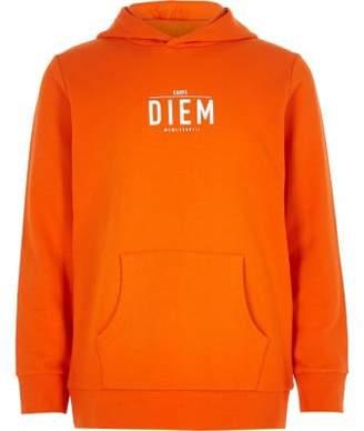 River Island Boys orange 'carpe diem' hoodie