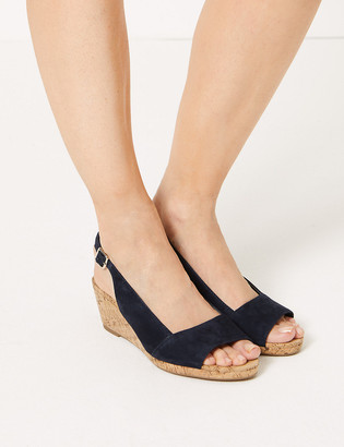 Marks and Spencer Suede Wedge Heel Slingback Sandals