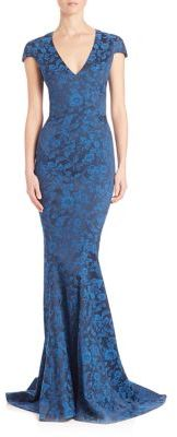 Zac Posen Party Jacquard Cap Sleeve Mermaid Gown $2,990 thestylecure.com