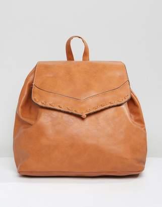 Liquorish Drawstring Backpack With Foldover Flap