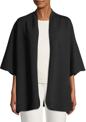Escada Open-Front 3/4-Sleeve Wool Cape w/ Logo Intarsia